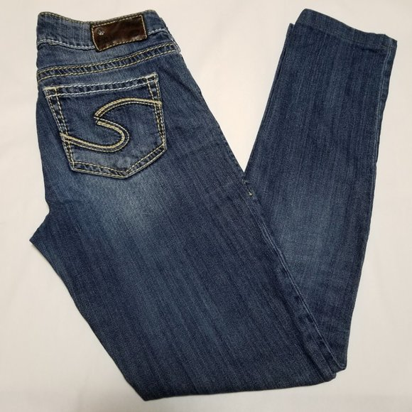 Silver Suki Mid Rise Slim Straight Leg Jeans